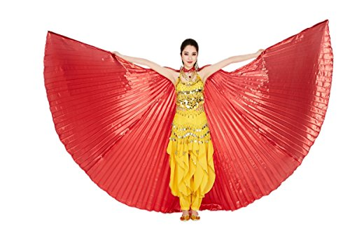 [CISMARK Isis Wings Belly Dance Costume Prop Closed Back(Red)] (Red Belly Dancer Costume)