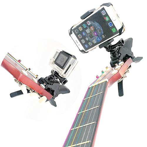 - Combo Camera and Cell Phone Music Mount - Ukelele Guitar Headstock Mobile Phone Clamp Clip Mount for Smartphones and Gopro Action Cameras ~ Close Up Home Recording - Work for Any Microphone Stands