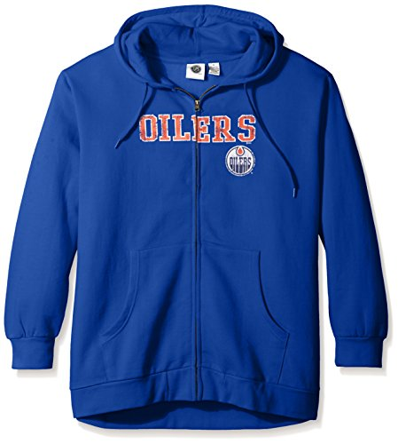 - Profile Big & Tall NHL Edmonton Oilers Women's Full Zip Hoodie with Distress Word Mark, 2X, Royal