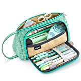 EASTHILL Medium Capacity Pencil Pen Case Bag Pouch Holder Multi-Slot School Supplies for Middle High School Office College Girl Adult Simple Storage Mint Green