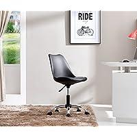 Hodedah Mid Century Modern, Molded Chair with Adjustable Height & Wheels, Black