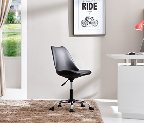 HODEDAH IMPORT Hodedah Mid Century Modern, Molded Chair with Adjustable Height & Wheels, Black by HODEDAH IMPORT