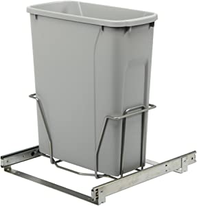 Knape & Vogt RS-PSW15-1-20-P 17 in. H x 14 in. W x 16 in. D Steel in-Cabinet 20 Qt. Single Platinum Pull Out Trash Can