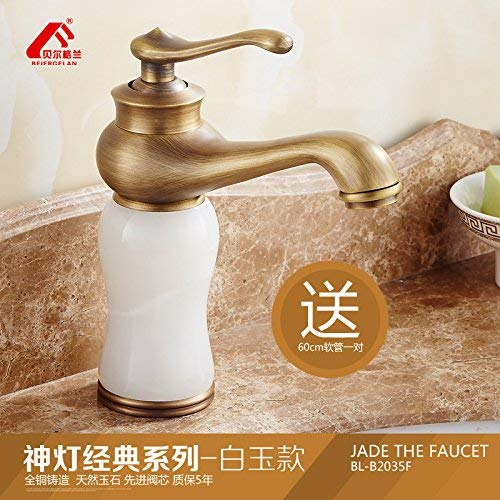 2 Oudan Basin Mixer Tap Antique faucets continental basin of hot and cold Green Jade Marble Sinks Faucets full copper Washbasin Faucet, God light deluxe antique series Tsing Yu (color   7)