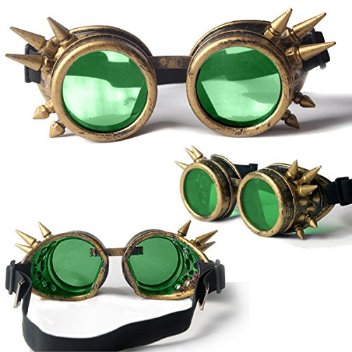 Lelinta Spiked Goggles Steampunk Welding Goth Cosplay Vintage Goggles Rustic,Copper frame + 2x Green lenses,Adjustable