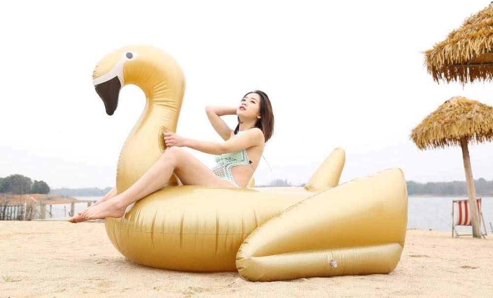 Svvsgf inflables de Piscina para Adultos, tamaño Inflable de PVC Cisne Blanco y Negro Cisne Dorado Montaje de Fila Flotante Inflable