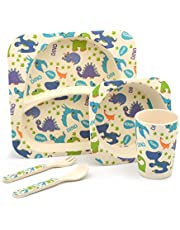 Tiny Dining Children's 5 Piece Bamboo Dinner Set. Kids Plate, Bowl, Cup, Fork & Spoon - Dinosaurs