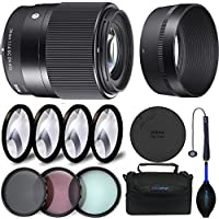 Sigma 30mm f/1.4 DC DN Contemporary Lens for Sony E + Expo Accessories Bundle