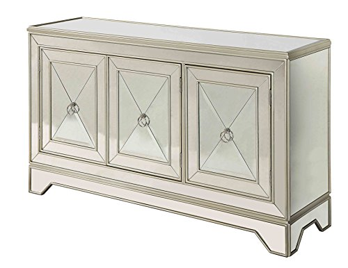 Treasure Trove Accents 17508 Three Door Media Credenza, Metallic Gold (Buffets Mirrored Sideboards)