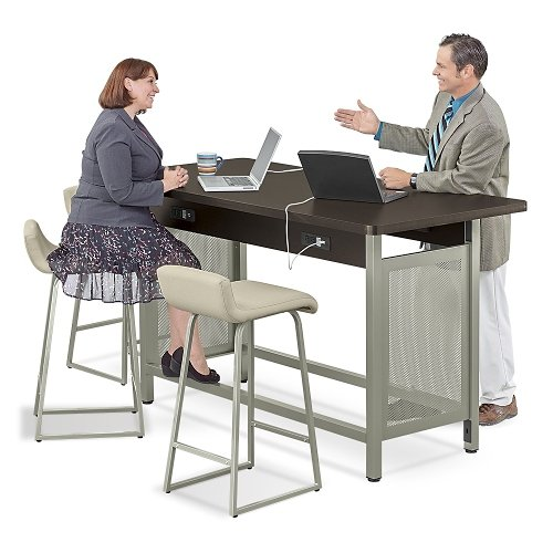 at Work Collaborative Island 72''W x 37''D Espresso Laminate/Brushed Nickel Painted Steel Frame by NBF Signature Series