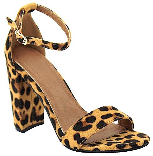 Cambridge Selezionare Donna Open Toe Single Band Fibbia Cinturino Alla Caviglia Grosso Blocco Avvolto Sandalo Tacco Alto Leopard Imsu