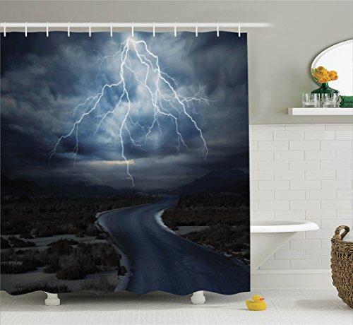 Curtain Ambesonne Thunderstorm Bathroom Accessories