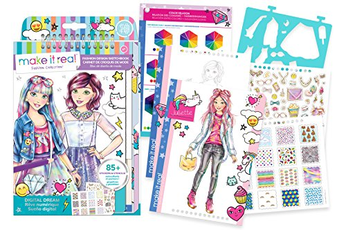 Make It Real – Fashion Design Sketchbook: Digital Dream. Inspirational Fashion Design Coloring Book for Girls. Includes Sketchbook, Stencils, Puffy Stickers, Foil Stickers, and Fashion Design - Designers Fashion For Illustrator