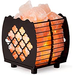 Crystal Decor Natural Himalayan Hybrid Wired Cube Basket Pink Salt Lamp in a Modern and Contemporary Design with Dimmable Cord - Moroccan