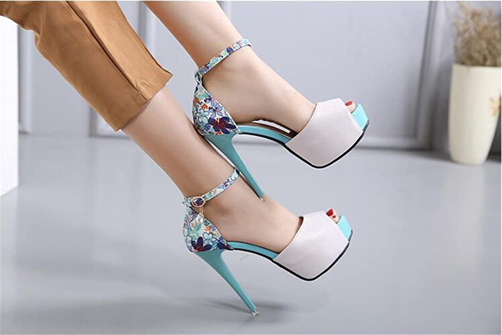 FORTUN Fashionable Shoes Drain Toe Platform Stiletto Heels Rhinestone B(M) Sandals 39/8.5 B(M) Rhinestone US Women|Blue B07D26DH4W c92978