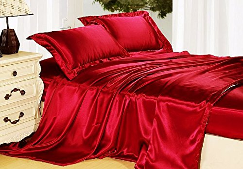 4-Piece KING size, SOLID RED Soft Silky Charmeuse Satin Sheet Set - Flat, Fitted and Pillow Cases. Deep Pockets
