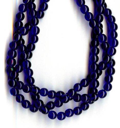 6mm Round Czech Glass Druk Beads - Cobalt Blue 50pc