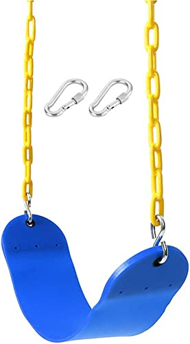 Naughty Jungle Swing Seat Heavy Duty with 66 Chain Plastic Coated, Swing Set Accessories Swing Seat Replacement, 250 LB Weight Limit Blue