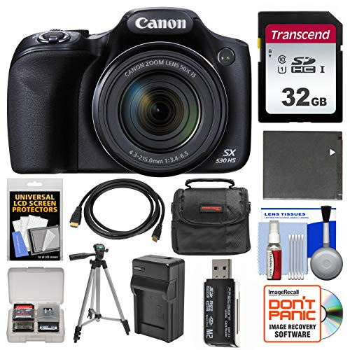 Canon PowerShot SX530 HS Wi-Fi Digital Camera with 32GB Card + Case + Battery & Charger + Tripod + Kit (Cannon 16 Mp Camera)