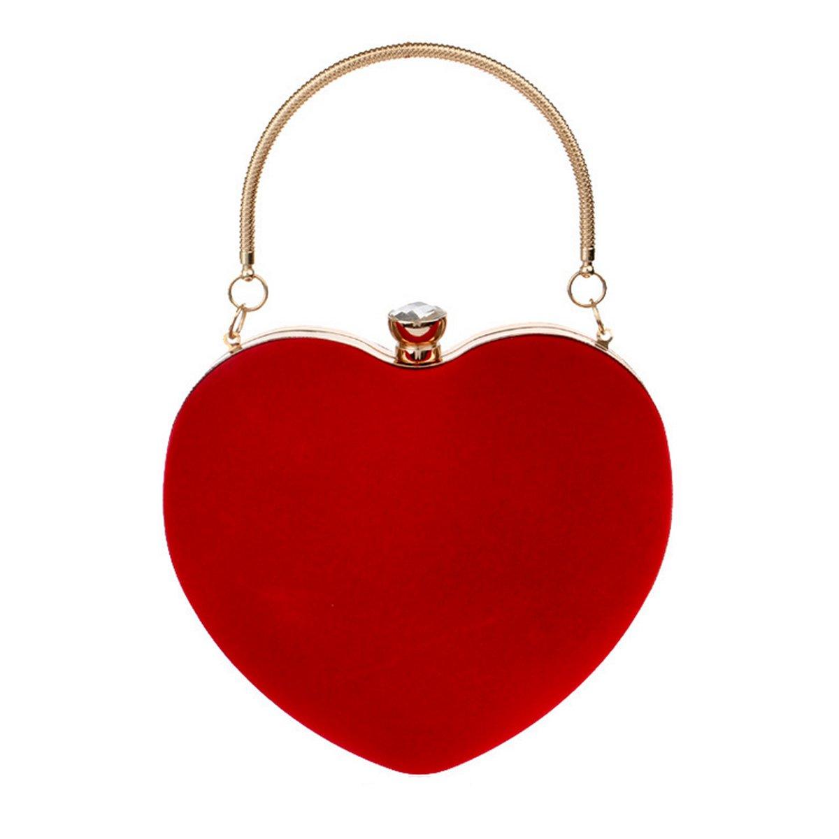 Kennedy Fashion Heart Shape Clutch Bag Velvet Tote Handbag Chain Shoulder Bag Evening Bag Purse(red)