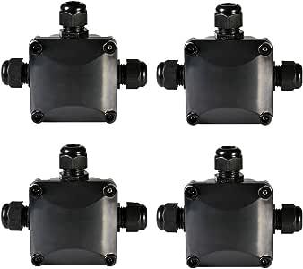 ATPWONZ 4pcs Caja de Conexiones Conector de 3 Vías de Interior/Exterior IP68 Impermeable Súper Ø 5.5mm-10.2mm (Negro): Amazon.es: Bricolaje y herramientas