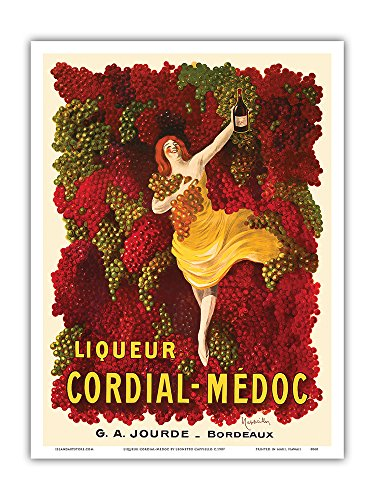 Liqueur Cordial-Médoc - French Wine - G. A. Jourde Winemakers Bordeaux France - Vintage Advertising Poster by Leonetto Cappiello c.1907 - Master Art Print - 9in x 12in ()