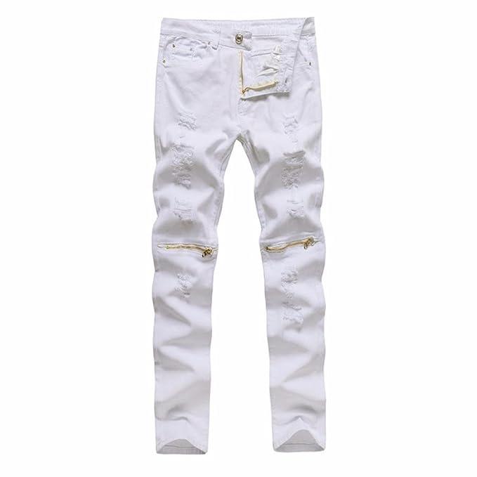 Pantalones Hombre,❤Dorame❤ Pantalones Elásticos Rasgados ...