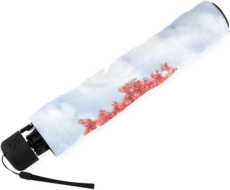 Wokfox Red Heart Tree Custom Fashion Folding Travel Umbrella