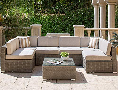 Solaura Outdoor Furniture Set 7-Piece Wicker Furniture Modular Sectional Sofa Set Grey Wicker Light Grey Olefin Fiber Cushions & Sophisticated Glass Coffee Table with Fabric Cover