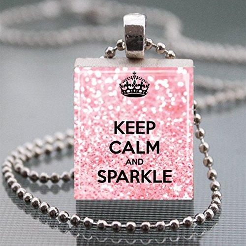 Keep Calm and Sparkle Scrabble Tile Pendant Necklace - Wearable Art (Letter Scrabble Necklace)