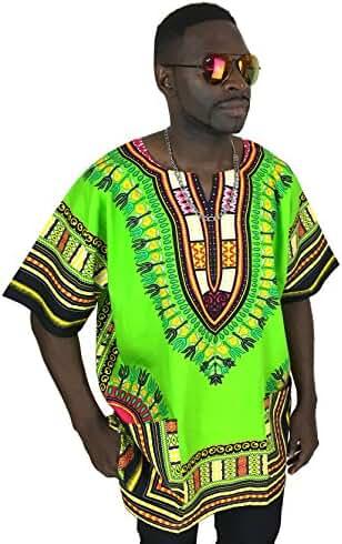 Dashiki Shirt Men's Dashiki African Shirt Free Size Several Colors (Green)