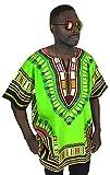 Vipada Handmade Dashiki Shirt Men's Dashiki African Shirt Free Size Several Colors (Lime Green) L
