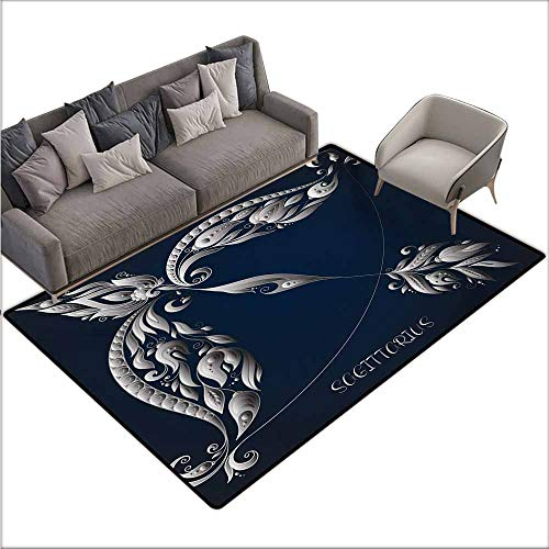 (Floor Bath Rug Zodiac Sagittarius Hand Drawn Bow Arrow Motif with Leaves Flowers Astrology Sign Suitable for Outdoor and Indoor use W78 xL118 Dark Blue and Grey)