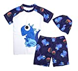 stylesilove Kids Boy Cartoon Dinosaur Shark Rashguard Top & Swim Shorts with Hat 3 pcs Set (Blue Dinosaur/White, XL/7-9 Years)