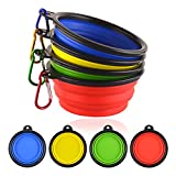 Kathy Collapsible Dog Bowl Pack of 4 Silicone Portable Foldable Dog Bowls with Carabiner for Pet Feeding Food Water Travel Outdoor