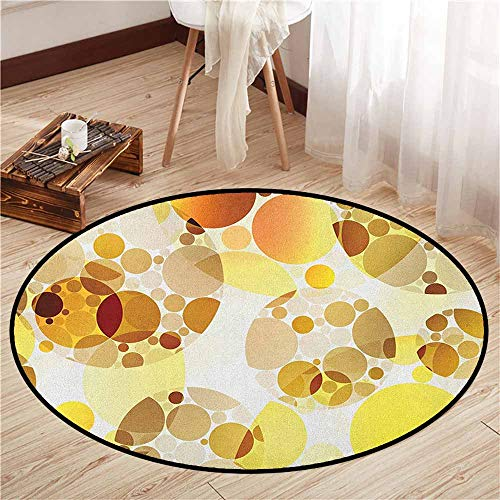 Round Carpet,Polka Dots,Graphic Dots Relational Diameters Globes 50s Culture in Modern Artprint,Sofa Coffee Table Mat,5'3