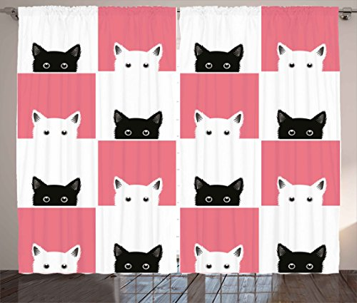 Ambesonne Cats Curtains, Chess Board Design with Cute Kittens Feline Baby Kitty Animals Pets Retro Mosaic, Living Room Bedroom Window Drapes 2 Panel Set, 108W X 84L Inches, Black White Pink