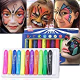Face Paint Kit Crayons 12 Colors for Kids Face & Body Paint Sticks, Halloween and Party Makeup, Non-Toxic Washable Face Painting, Water Based Twist up Face Painting Crayons Sticks