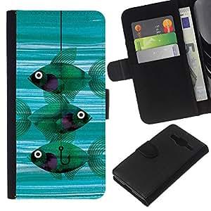 Planetar® Modelo colorido cuero carpeta tirón caso cubierta piel Holster Funda protección Para Samsung Galaxy Core Prime / SM-G360 ( Fishing Meaning Teal Hook Deep )