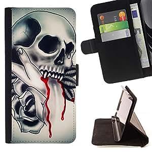 Momo Phone Case / Flip Funda de Cuero Case Cover - Vampire tatuaje Colmillo de Sangre de tinta motorista - Samsung Galaxy Note 4 IV