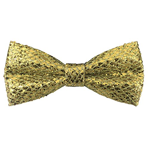 Men's Adjustable Pre-tied Bowtie Leather Glitter Sequins Solid Bow Ties (Gold)]()
