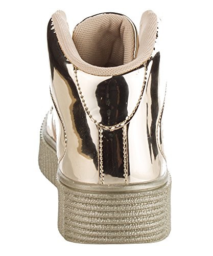 Cape Robbin Womens Mode Creepers En Cuir Verni Paillettes Lacets Flatform Lace Up Plate-forme Haute Haut Sneakers Or