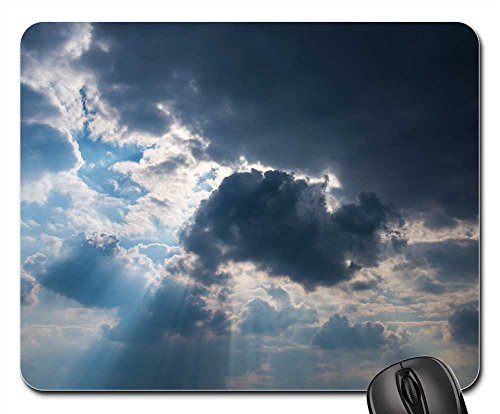 Mouse Pads - Sky Clouds Sun Rays Weather Blue Dark