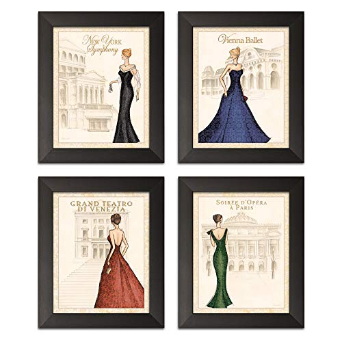 Gango Editions 4 World Fashion Formal Gown Art Prints Symphony Ballet Teatro Opera 8x10-Inch Framed Fine Art Prints; Ready to ()