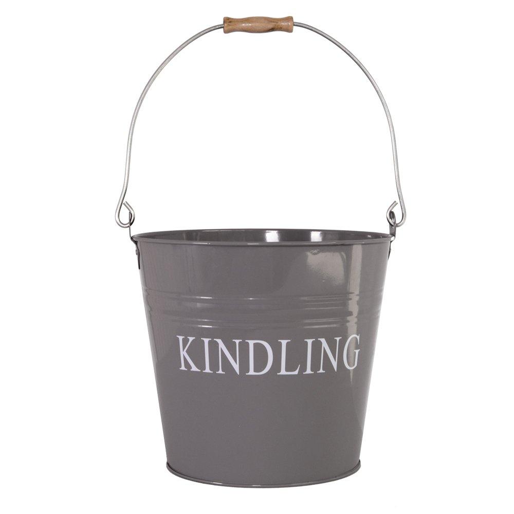 Home Discount Kindling Bucket Wood Metal Garden Fireside, Grey Slate