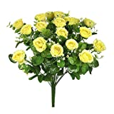 "18"" ELEGANT SILK ROSE EUCALYPTUS FLOWER BOUQUET YELLOW #01"