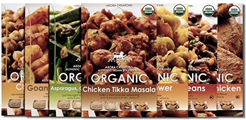 Arora Creations USDA-Organic ALL 7 FLAVORS VARIETY PACK Indian Spice Blends (7 Pack) (7 Flavors Available) (Curry/Seasoning / ()