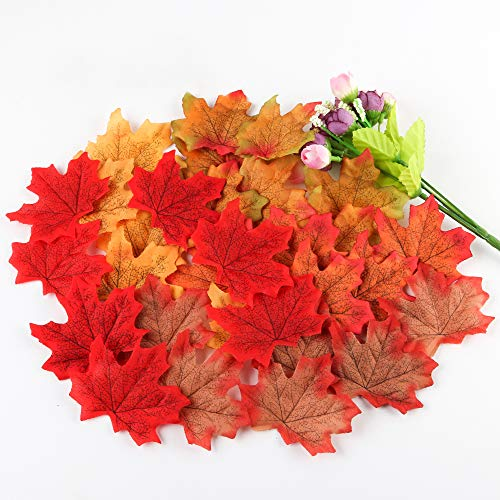 Artificial Maple Leaves, Autumn Fall Leaves Bulk Assorted Multicolor Mixed Garland Decorations for Weddings, Events and Decorating (500pcs)