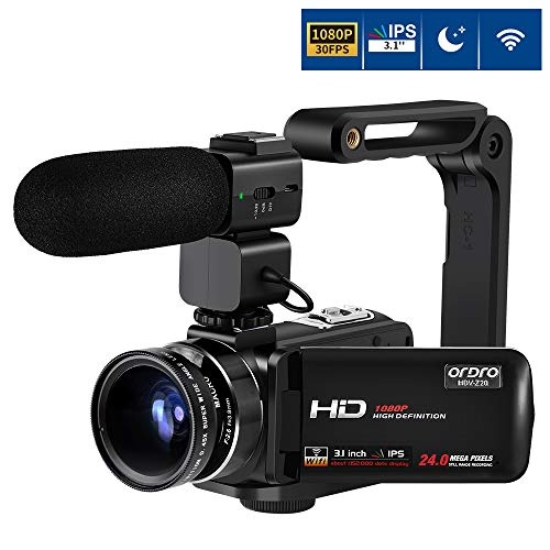 Video Camera Camcorder, ORDRO Full HD Camcorder 1080P 30FPS FHD 24MP 3.1'' IPS Touch Screen Video Camera WiFi Night Vision Camcorder with Microphone, Wide Angle Lens and Camera Holder