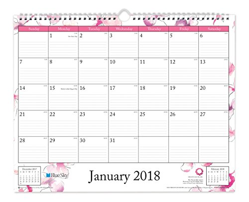 "Blue Sky 2018 Monthly Wall Calendar, Twin-Wire Binding, 15"" x 12"", Orchid"